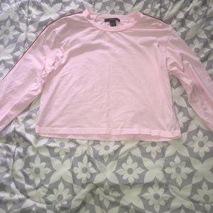 Baby Pink Long Sleeve Crop Top